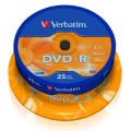 DVD-R VERBATIM 16x Advanced AZO 4.7GB Spindle P/25